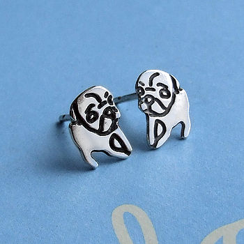 Sterling Silver Thoughtful Pug Earrings