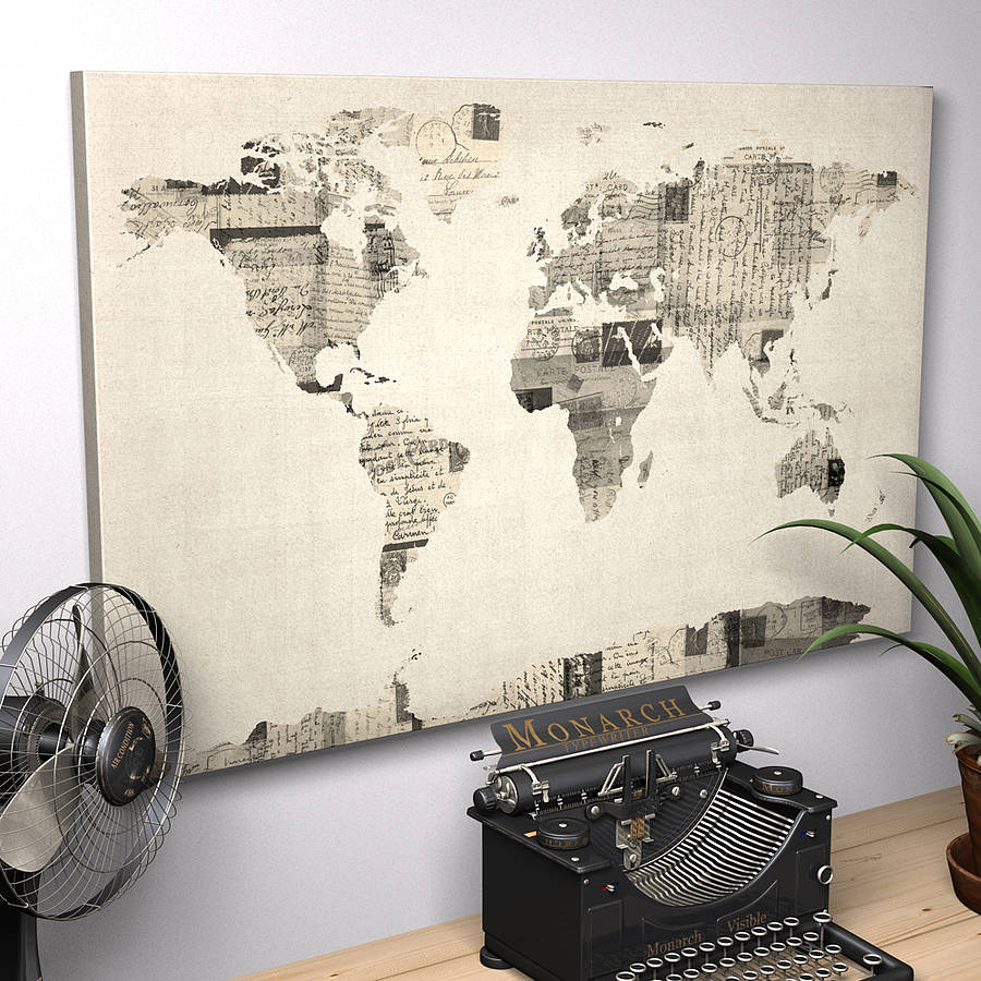 Vintage style postcard world map print by artpause ready to hang canvas print gumiabroncs Images