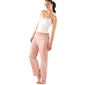 Flowery Striped Pyjama Bottoms - women's fashion