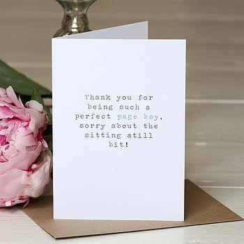 'Page Boy' Wedding Thank You Card