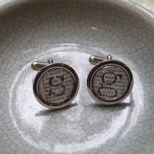 Personalised Initial Literary Cufflinks - men's jewellery