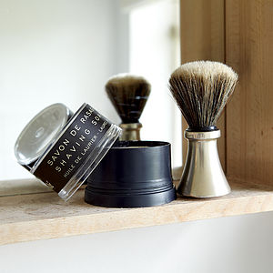 Men's Shaving Brush With Silver Handle