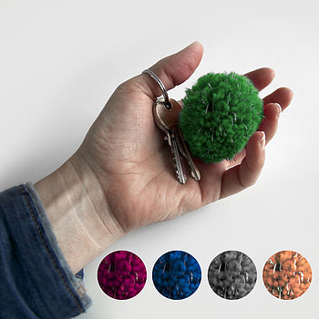 Reflective Pompom Key Ring