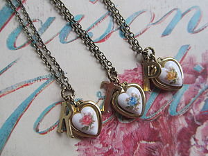 Vintage Heart Locket With Initial Letter