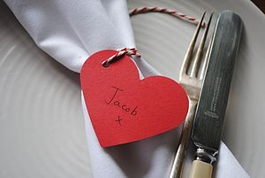 Pack Of 20 Heart Name Place Cards With Twine - tableware