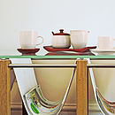 Set Of Two Ceramic Cups And Mahogany Saucers
