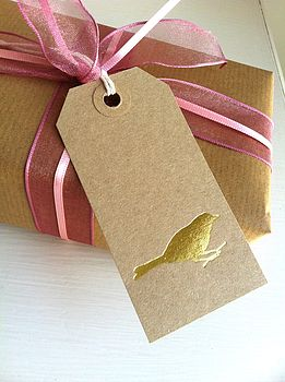 Ten Shimmering Foil Pressed Bird Gift Tags