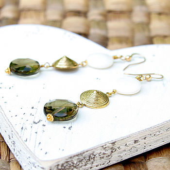 Shell Coin And Faceted Smokey Quartz Earrings