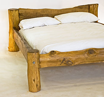 Rustic Hand Crafted King Size Wooden Bed