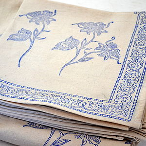 Block Printed Tablecloth & Napkins - VARIOUS - bed, bath & table linen