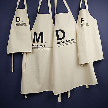 Family Personalised Cotton 'Is For' Aprons