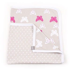Printed Butterfly Baby Blanket - bed linen & cot bedding