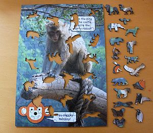 Monkey Wooden Jigsaw With Animal Pieces - board games & puzzles