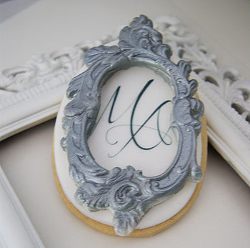 Six Monogram White Chocolate Frame Biscuits