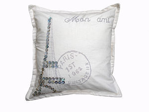 Paris Pearl Eiffel Tower Cushion