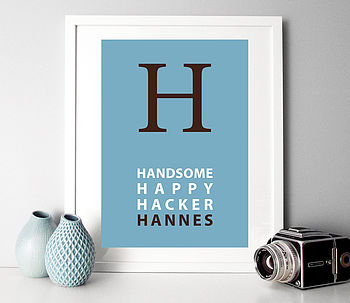 Personalised Initial Name And Text Poster Or Canvas