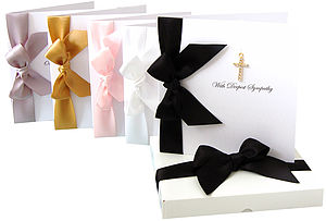 Gold Diamante Cross Sympathy Card - sympathy & sorry cards