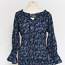 Gypsy top in posy dark blue