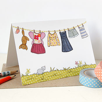 Children's Pink Washing Line Card