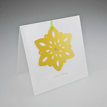 Large Snowflake Christmas card in gold