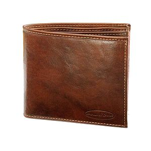 Leather Bi Fold Wallet With Coin Section - men's accessories