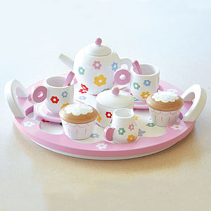 Flower Pink Role Play Wooden Tea Set - toys & games