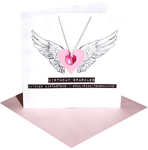 Birth Stone Crystal Necklace Boxed Card