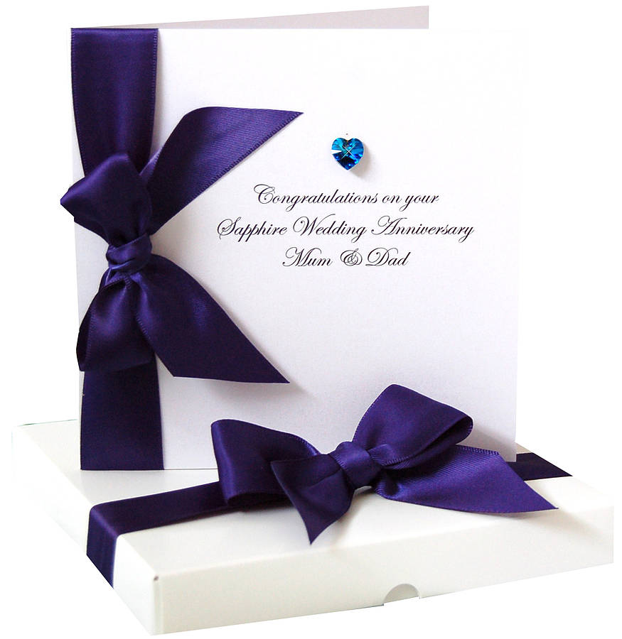 bedazzled personalised sapphire anniversary card by made with love