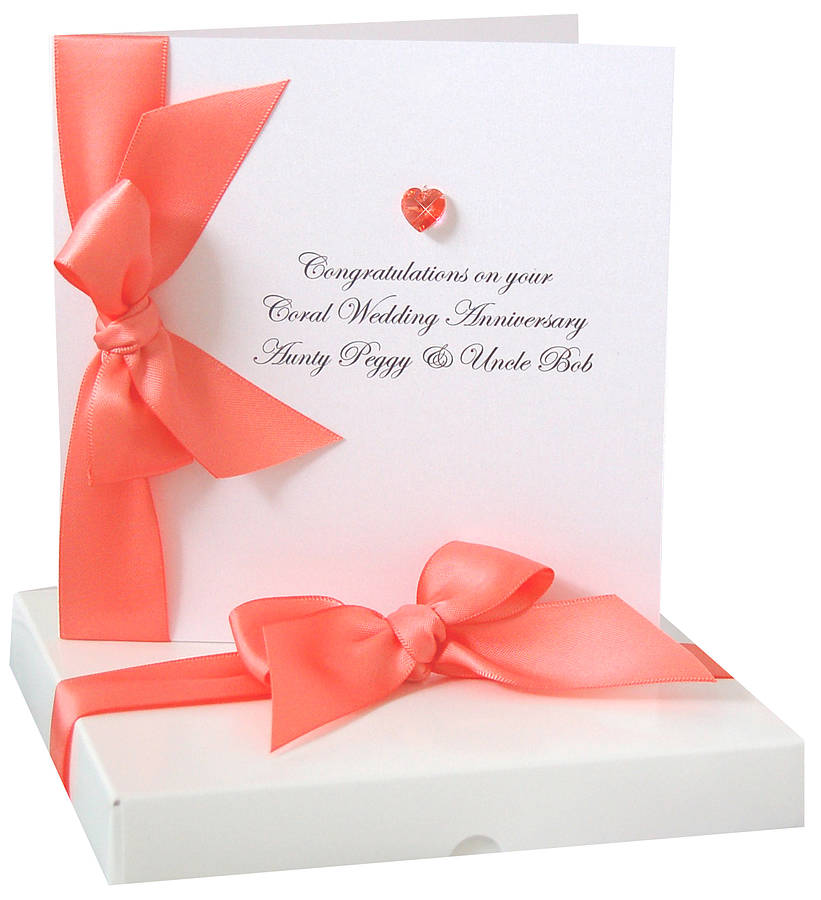 bedazzled personalised coral wedding anniversary card by made with