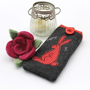 Rabbit Appliqued Glasses Case - glasses cases
