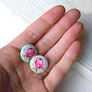 Rose Fabric Button Earrings