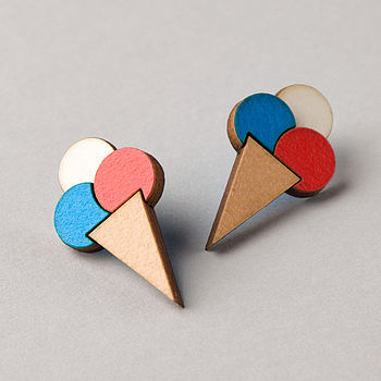 ice cream earrings: red and bright blue