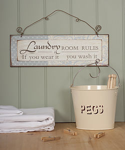 Enamel Peg Bucket - laundry bags & baskets