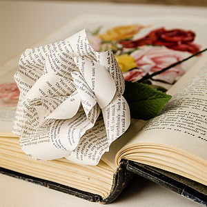 The Original Literary Paper Rose - special work anniversary gifts