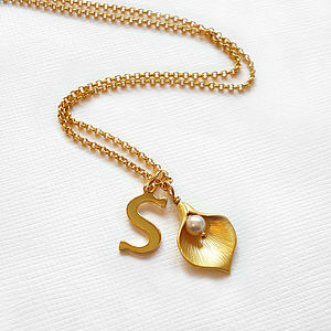 Personalised Gold Calla Lily Necklace - charm jewellery