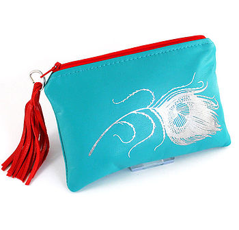 Printed Leather Peacock Feather Purse