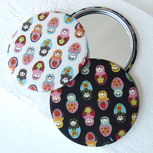 Russian Doll Fabric Pocket Mirror - beauty accessories