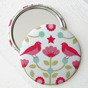 Bird Fabric Pocket Mirror - beauty & pampering