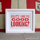 'What's Cooking' Letterpress Poster Card