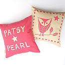 Personalised Owl Print Cushion