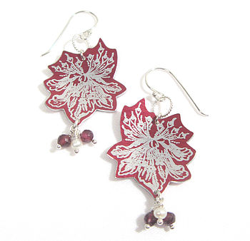 Flower Spray Red Earrings