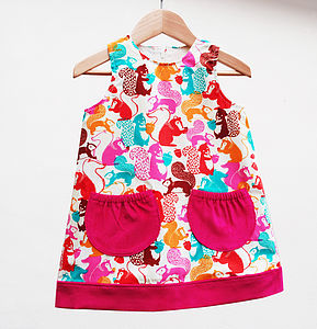 Girl's Squirrel Print Pinafore - dresses