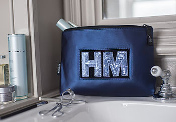 Wash Bag With Sequin Initials