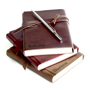 Personalised Leather Wrap Daily Journal Diary