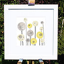 Yellow And Grey Seed Heads Floral Art Print