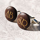 Personalised Initials Leather Cufflinks