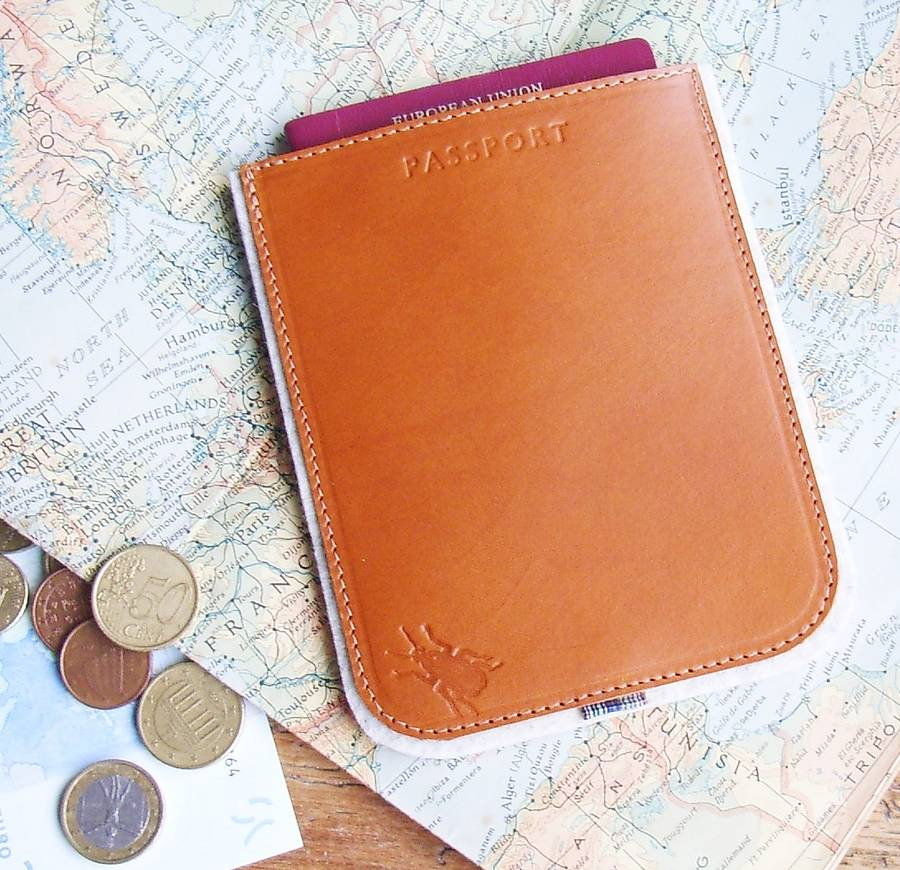 Elytra England Personalised Leather And Felt Passport Case