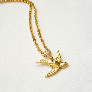 Gold Swallow Necklace - children's jewellery