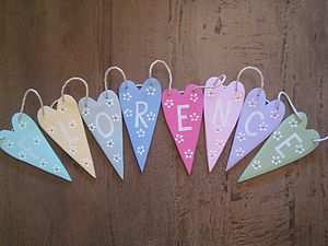 Personalised Wooden Heart Bunting - valentine's day decorations
