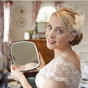 Pearl Feather Birdcage Veil Set - wedding fashion